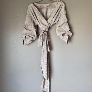 Zara Grey Wrap Top with Poof Sleeves
